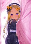 1girl abigail_williams_(fate/grand_order) akirannu bangs black_bow black_dress black_headwear blonde_hair blue_eyes blush bow bug butterfly commentary_request curtain_grab curtains dress fate/grand_order fate_(series) hair_bow hat highres insect long_hair long_sleeves looking_at_viewer multiple_bows orange_bow parted_bangs polka_dot polka_dot_bow sleeves_past_fingers sleeves_past_wrists smile solo