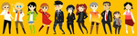 5girls 6+boys :d :o adachi_tooru adachi_tooru_(cosplay) amagi_yukiko amagi_yukiko_(cosplay) androgynous badge belt black_eyes black_hair blonde_hair blue_eyes blue_hair blush boots brown_eyes brown_hair button_badge cabbie_hat chibi closed_eyes cosplay costume_switch crossdressing doujima_nanako doujima_nanako_(cosplay) doujima_ryoutarou doujima_ryoutarou_(cosplay) dress facial_hair flower grey_eyes hairband hairy_legs hanamura_yousuke hanamura_yousuke_(cosplay) hand_on_hip hat headphones headphones_around_neck highres jacket jewelry kujikawa_rise kujikawa_rise_(cosplay) kuma_(persona_4) kuma_(persona_4)_(cosplay) long_hair messy_hair multiple_boys multiple_girls narukami_yuu narukami_yuu_(cosplay) necklace necktie open_mouth otoko_no_ko pants pantyhose peachifruit persona persona_4 red_hair reverse_trap ribbon rose satonaka_chie satonaka_chie_(cosplay) shirogane_naoto shirogane_naoto_(cosplay) shoes short_hair skirt smile socks sparkle standing straight_hair striped striped_pants tank_top tatsumi_kanji tatsumi_kanji_(cosplay) thighhighs track_jacket twintails wavy_hair