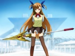 1girl brown_hair heterochromia highres long_hair lyrical_nanoha mahou_shoujo_lyrical_nanoha_strikers panties pantyshot raising_heart solo teenage thighhighs tokyo_big_sight toshi_hiroshi underwear very_long_hair vivio wind_lift zettai_ryouiki