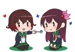 2girls black_jacket black_legwear brown_hair chibi crescent crescent_moon_pin cup eyebrows_visible_through_hair gelatin gradient_hair green_skirt holding holding_cup holding_spoon jacket kantai_collection kisaragi_(kantai_collection) lawson long_hair multicolored_hair multiple_girls mutsuki_(kantai_collection) pantyhose parody pleated_skirt purple_hair red_hair remodel_(kantai_collection) school_uniform seiza serafuku short_hair simple_background sitting skirt smile thighhighs white_background yamashiki_(orca_buteo)