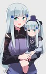2girls :d absurdres bangs black_hairband black_legwear black_ribbon blue_shirt blue_skirt blunt_bangs blush breasts closed_mouth commentary eyebrows_visible_through_hair facial_mark girls_frontline green_eyes grey_background hair_ornament hair_ribbon hairband hat highres hk416_(girls_frontline) jacket long_hair long_sleeves mini_hat multiple_girls open_mouth purple_headwear purple_jacket ribbon shirt signature silver_hair simple_background sitting_on_arm skirt small_breasts smile socks tegar32 time_paradox upper_body very_long_hair