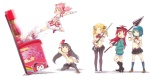 5girls akemi_homura arcade blush_stickers brass_knuckles cellphone cellphone_camera charlotte_(madoka_magica) female_pervert flying_kick gun implied_pantyshot kaname_madoka kicking kyubey magical_girl magical_musket mahou_shoujo_madoka_magica miki_sayaka multiple_girls nukomasu pantyhose pervert phone polearm puffy_sleeves rifle sakura_kyouko school_uniform simple_background spear tomoe_mami translated weapon