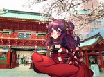 1girl absurdres ahoge architecture blush cherry_blossoms day east_asian_architecture eyebrows_visible_through_hair hair_bun hair_ornament highres huge_filesize japanese_clothes kimono long_sleeves looking_at_viewer looking_back obi off_shoulder original osiimi outdoors paid_reward parted_lips patreon_reward photo_background red_kimono sash solo standing tree