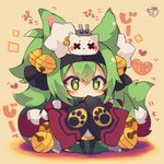 +_+ 1girl animal_ear_fluff animal_ears azur_lane bangs bell black_hairband black_legwear black_ribbon blush brown_background cannon chibi covered_mouth eyebrows_visible_through_hair full_body green_eyes green_hair hair_bell hair_between_eyes hair_ornament hair_ribbon hairband heart highres isokaze_(azur_lane) jingle_bell long_sleeves muuran pantyhose ribbon short_eyebrows signature sleeves_past_fingers sleeves_past_wrists solo standing thick_eyebrows turret wide_sleeves x_x