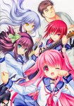 1boy 4girls ;) ;d absurdres angel angel_beats! bangs black_hair blue_sailor_collar blue_skirt chain closed_eyes closed_mouth collarbone collared_shirt eyebrows_visible_through_hair fang floating_hair green_eyes highres holding holding_instrument instrument iwasawa japanese_clothes jewelry kimono long_hair looking_at_viewer matsushita medium_hair miniskirt multiple_girls na-ga necklace one_eye_closed open_mouth paw_pose pink_eyes pink_hair pleated_skirt red_eyes red_hair sailor_collar shiny shiny_hair shirt silver_hair skirt smile twintails very_long_hair white_background white_kimono white_shirt wing_collar wristband yellow_eyes yui_(angel_beats!) yuri_(angel_beats!)