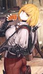1girl bag barrel belt blonde_hair boots bread brown_hair chair choker eating facial_hair fantasy fingerless_gloves flower food food_in_mouth gloves highres jun_(seojh1029) leather leather_boots looking_back medium_hair original pouch shield shortsword_(seojh1029) smile source_request sword thigh_boots thighhighs walking weapon yellow_eyes