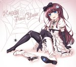 1girl bangs black_legwear black_ribbon blue_eyes boot_removed boots brown_hair bug commentary_request dress elbow_gloves gloves hair_ornament hair_ribbon highres jewelry kyuutou_(kyuutouryuu) long_hair original pantyhose pendant ribbon shoes shoes_removed single_boot single_shoe spider spread_legs