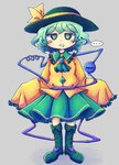 ... 1girl ascot boots cross-laced_footwear eyebrows_visible_through_hair frilled_shirt_collar frilled_sleeves frills full_body green_eyes green_footwear green_hair green_neckwear green_skirt hat hat_ribbon heart jitome knee_boots komeiji_koishi long_sleeves mouth_drool normkoto ribbon shirt short_hair simple_background skirt sleeves_past_fingers sleeves_past_wrists solo third_eye touhou yellow_ribbon yellow_shirt