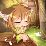 1girl ahoge animal_ears bangs belt blush boots brown_boots brown_hair cat_ears cat_tail chen chibi closed_eyes cracked_wall day fairy grass green_hat hat instrument kurumai light_particles light_rays musical_note ocarina outdoors playing_instrument sheath sheathed shield shiny shiny_hair shiny_skin short_hair sitting solo sunlight tail temple the_legend_of_zelda the_legend_of_zelda:_ocarina_of_time touhou tree tree_stump triforce tunic
