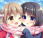 2girls ;d ahoge argyle argyle_scarf backpack bag bangs black_bow black_hairband blue_sky blue_sweater blush bow brown_eyes chestnut_mouth cloud cloudy_sky commentary_request day enpera eye_contact eyebrows_visible_through_hair fang fingernails hair_between_eyes hair_bow hair_ornament hairband hairclip hanamiya_natsuka jacket light_brown_hair long_hair long_sleeves looking_at_another multiple_girls one_eye_closed open_mouth original outdoors parted_lips pink_scarf pom_pom_(clothes) purple_eyes red_jacket scarf shared_scarf sky sleeves_past_wrists smile sweater twintails upper_body