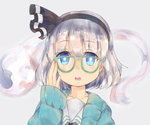 1girl bespectacled blue_eyes coat collarbone ears face glasses grey_background grey_hair hairband konpaku_youmu konpaku_youmu_(ghost) kyoukai_no_kanata parted_lips short_hair simple_background solo suguharu86 touhou