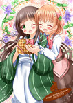 2girls :d ;d ^_^ ama_usa_an_uniform bangs blunt_bangs bow bowtie breasts brown_hair brown_skirt closed_eyes collared_shirt commentary_request dated english eyebrows_visible_through_hair gochuumon_wa_usagi_desu_ka? green_eyes green_kimono hair_ornament hairclip happy_birthday highres hoto_cocoa hug hug_from_behind japanese_clothes kimono long_hair long_sleeves multiple_girls one_eye_closed open_mouth orange_hair pink_vest polka_dot_trim rabbit_house_uniform red_neckwear shirt skirt small_breasts smile striped striped_kimono ujimatsu_chiya vest white_shirt wide_sleeves wing_collar zenon_(for_achieve)
