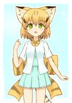 1girl :o adapted_costume animal_ears blonde_hair bow bowtie casual cat_ears cat_tail commentary_request extra_ears eyebrows_visible_through_hair green_eyes hair_between_eyes highres kemono_friends looking_at_viewer outline print_bow sand_cat_(kemono_friends) sand_cat_print shiraha_maru short_hair solo tail white_outline