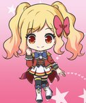 1girl aikatsu! aikatsu!_(series) bangs black_legwear blonde_hair blue_bow boots bow brown_vest closed_mouth epaulettes eyebrows_visible_through_hair full_body hair_bow hand_up heart heart_background jacket knee_boots long_sleeves nekono_rin nijino_yume open_clothes open_jacket pleated_skirt red_bow red_eyes red_jacket s4_uniform shirt skirt smile solo standing standing_on_one_leg star starry_background thighhighs thighhighs_under_boots twintails vest white_footwear white_shirt white_skirt