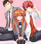 1girl 2boys ahoge black_legwear blazer blush bow bowtie brown_eyes brown_hair dress_shirt earrings gekkan_shoujo_nozaki-kun hair_bow jewelry long_sleeves maruki_(punchiki) mikoshiba_mikoto multiple_boys necktie nozaki_umetarou open_mouth orange_hair outline pants pink_background pleated_skirt polka_dot polka_dot_bow profile purple_eyes red_eyes red_hair sakura_chiyo school_uniform shirt short_hair sitting skirt sweatdrop thighhighs unmoving_pattern v_arms zettai_ryouiki