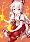 1girl >:) bangs blush bow breasts commentary_request eyebrows_visible_through_hair feet_out_of_frame fire fujiwara_no_mokou hair_between_eyes hair_bow highres long_hair looking_at_viewer ofuda orange_background pants puffy_short_sleeves puffy_sleeves red_eyes red_pants ruu_(tksymkw) shirt short_sleeves silver_hair simple_background small_breasts smile solo suspenders touhou v-shaped_eyebrows very_long_hair white_bow white_shirt