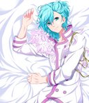 1boy absurdres alternate_costume blue_eyes blue_hair collarbone commentary_request eyebrows_visible_through_hair feathers highres imai jacket long_sleeves looking_at_viewer lying male_focus messy_hair mikaze_ai on_back ponytail smile solo upper_body uta_no_prince-sama white_feathers white_jacket