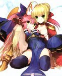 2girls animal_ears blonde_hair breasts dress fate/extra fate_(series) fox_ears fox_girl fox_tail green_eyes hair_ribbon highres japanese_clothes medium_breasts multiple_girls nero_claudius_(fate) nero_claudius_(fate)_(all) official_art pink_hair ribbon scan tail tamamo_(fate)_(all) tamamo_no_mae_(fate) thighhighs wada_aruko wallpaper yellow_eyes zettai_ryouiki