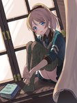 1girl argyle argyle_legwear ayase_eli black_bow black_skirt blonde_hair blue_eyes blue_neckwear blue_shirt blush book bow character_name curtains dutch_angle fuyuzima hair_bow happy_birthday indoors knees_up leg_hug looking_at_viewer love_live! love_live!_school_idol_project necktie no_shoes parted_lips pleated_skirt ponytail shirt sitting_in_window skirt smile solo thighhighs twitter_username window