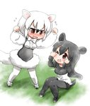 2girls ;d >_o animal_ears arms_up black_hair blush bow bowtie brown_eyes chibi commentary_request dress extra_ears eyebrows_visible_through_hair flying_sweatdrops full_body furrowed_eyebrows hair_between_eyes hands_up kawara_hajime kemono_friends knees_together_feet_apart knees_up long_hair long_sleeves looking_at_another malayan_tapir_(kemono_friends) medium_hair multicolored_hair multiple_girls nose_blush one_eye_closed open_mouth pantyhose peeking_through_fingers shorts sidelocks sitting smile southern_tamandua_(kemono_friends) standing sweater tail tamandua_ears tamandua_tail tapir_ears tapir_tail white_hair