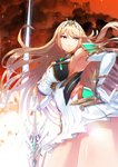 1girl absurdres armor armpits bangs blonde_hair breasts cloud cloudy_sky dress earrings gloves gold_trim green322 hand_on_hip highres hikari_(xenoblade_2) jewelry large_breasts long_hair perspective red_sky serious sky sparkle sword tiara v-shaped_eyebrows weapon xenoblade_(series) xenoblade_2 yellow_eyes