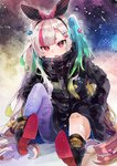 1girl :o aqua_hair badge bandaged_leg bandages bandaid bandaid_on_knee black_footwear black_hairband black_jacket black_scarf boots brown_hair buttons commentary_request curly_hair gradient_hair green_hair hair_ornament hair_ribbon hairband hairclip hand_in_pocket highres ikeuchi_tanuma jacket long_hair long_sleeves looking_at_viewer multicolored_hair open_mouth original purple_legwear red_eyes red_hair ribbon scarf sidelocks silver_hair single_thighhigh sitting solo star thighhighs very_long_hair