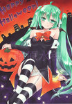1girl acrylic_paint_(medium) ahoge fang fang_out fujiwara_minaho garter_straps green_eyes green_hair halloween happy_halloween hatsune_miku highres jack-o'-lantern long_hair looking_at_viewer marker_(medium) sitting smile solo striped striped_legwear thighhighs traditional_media twintails very_long_hair vocaloid