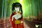1girl :o asymmetrical_hair bamboo bamboo_forest black_hair blush bug butterfly chinese_commentary clock clock_eyes commentary_request date_a_live day fan floral_print forest gears hair_between_eyes heterochromia holding holding_fan insect japanese_clothes kimono long_hair looking_at_viewer nature outdoors paper_fan print_kimono red_eyes solo susaki_chousen symbol-shaped_pupils tokisaki_kurumi twintails uchiwa yellow_eyes