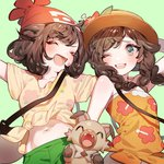 2girls :d ;d ^_^ aqua_background arm_behind_head arm_up arms_up bag bangs beanie blue_eyes blush braid breasts brown_hair closed_eyes commentary_request fang floral_print flower gen_7_pokemon green_shirt hat hat_flower hibiscus long_hair mizuki_(pokemon) multiple_girls navel one_eye_closed open_mouth outstretched_arms partial_commentary pokemon pokemon_(creature) pokemon_(game) pokemon_sm pokemon_usum print_shirt red_flower red_hat ribbon rockruff shirt short_shorts short_sleeves shorts shoulder_bag simple_background small_breasts smile strapless sun_hat swept_bangs tied_skirt twin_braids upper_body upper_teeth yellow_ribbon yellow_shirt zuizi