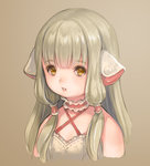 1girl brown_eyes brown_hair chii chobits crossover final_fantasy final_fantasy_xiv highres lalafell long_hair open_mouth robot_ears solo upper_body very_long_hair yamori_(stom)