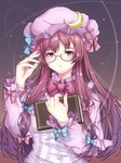 1girl bangs bespectacled blue_bow book bow bowtie breasts commentary_request crescent crescent_hair_ornament dress frilled_shirt_collar frilled_sleeves frills glasses gradient gradient_background hair_bow hair_ornament hand_up hat hat_bow highres holding holding_book long_hair long_sleeves looking_at_viewer medium_breasts mob_cap nyankomaou parted_lips patchouli_knowledge pink_bow purple-framed_eyewear purple_background purple_dress purple_eyes purple_hair purple_hat sidelocks solo striped touhou upper_body vertical-striped_dress vertical_stripes very_long_hair wing_collar