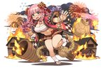 1girl barrel blue_eyes bracelet braid breasts cleavage eyebrows_visible_through_hair fire fireworks fullbokko_heroes hair_rings jewelry large_breasts leg_up long_hair navel official_art open_mouth outstretched_arms pink_hair pleated_skirt red-framed_eyewear sandals semi-rimless_eyewear shigatake skirt solo spread_arms under-rim_eyewear