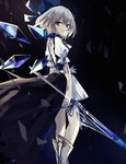 1girl back back_cutout bangs beckzawachi blue_bow blue_eyes blue_hair blue_ribbon bow cirno detached_wings dress fairy hair_between_eyes hair_bow highres holding holding_spear holding_weapon ice ice_wings light_blue_hair overskirt polearm ribbon short_dress solo spear touhou weapon wings