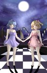 2girls absurdres barefoot bat_wings blonde_hair blue_bow blue_ribbon bow breasts chahei checkered checkered_floor collarbone commentary crystal flandre_scarlet full_moon hair_ribbon highres holding_hands looking_at_viewer moon multiple_girls night night_sky open_mouth purple_hair red_bow red_eyes red_ribbon remilia_scarlet ribbon short_hair siblings side_ponytail sisters sky sleepwear small_breasts star_(sky) strap_pull tiptoes touhou wings