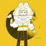 1girl astronaut astronaut_helmet black_eyes commentary crater expressionless feet_out_of_frame flag halftone helmet highres holding holding_flag keke_(kotowari) long_sleeves looking_at_viewer monochrome moon no_nose original solo spacesuit standing yellow_theme