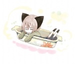 1girl animal_ears bad_id bad_pixiv_id closed_eyes cup hrd in_container in_cup minigirl original pink_hair short_hair sleeping solo