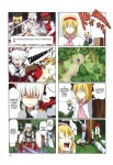 4koma 6+girls alice_margatroid animal_ears blonde_hair bunny_ears comic fujiwara_no_mokou hard_translated hat highres hong_meiling kamishirasawa_keine lunasa_prismriver lyrica_prismriver merlin_prismriver multiple_4koma multiple_girls pageratta reisen_udongein_inaba shanghai_doll sword third-party_edit touhou translated weapon