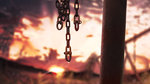 animated banishment blurry blurry_background chain commentary_request depth_of_field dew_drop loop no_humans original outdoors scenery sunset ugoira water_drop