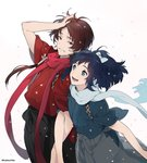 2boys :d blue_eyes blue_hair brown_hair cherry_blossoms couple dalc_rose earrings hair_ribbon hand_in_hair happy holding_arms japanese_clothes jewelry kashuu_kiyomitsu kimono locked_arms male_focus mole mole_under_eye mole_under_mouth multiple_boys open_mouth ponytail red_eyes ribbon scarf simple_background smile touken_ranbu twitter_username yamato-no-kami_yasusada yaoi