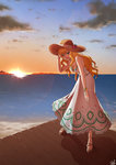1girl :d absurdres blonde_hair blue_eyes blush bracelet breasts chanakim cleavage dress flower hat hat_flower highres idolmaster idolmaster_cinderella_girls jewelry leaning_forward long_hair looking_at_viewer medium_breasts o-ring ocean ootsuki_yui open_mouth pier sandals signature smile solo sun_hat sundress sunset