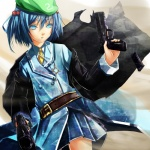 1girl bad_id bad_nicoseiga_id belt blue_eyes blue_hair dual_wielding gun hair_bobbles hair_ornament handgun hat highres kawashiro_nitori key long_coat magazine_(weapon) magazine_ejection reio_reio short_hair skirt solo touhou trigger_discipline uniform weapon