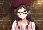 1girl against_wall black_rabbit bow braid brown_hair collarbone hair_bow hair_over_shoulder hat head_tilt highres idolmaster idolmaster_million_live! jewelry kitazawa_shiho long_hair looking_at_viewer necklace portrait red_hat shirt solo twin_braids white_bow white_shirt