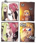 3d_glasses 3girls 4koma comic commentary dark_skin drinking_straw eating excited eye_contact food green_hair himejoshi holding_hands imminent_kiss inkling korean_text long_hair looking_at_another medium_hair multiple_girls octoling orange_hair parted_lips pink_hair pointy_ears popcorn short_hair splatoon_(series) splatoon_2 splatoon_2:_octo_expansion squidbeak_splatoon suction_cups tentacle_hair upper_body yknzv yuri