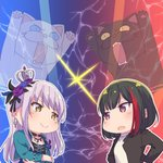 2girls >:) animal ayasaka bang_dream! bangs black_cat black_feathers black_hair black_jacket black_ribbon blue_feathers blue_flower blue_rose bob_cut brown_eyes cat choker commentary_request cross-laced_clothes crossed_arms crown earrings feathers flower glint hair_feathers hair_flower hair_ornament hair_ribbon jacket jewelry lavender_hair long_hair long_sleeves looking_at_another minato_yukina mitake_ran multicolored_hair multiple_girls necklace open_mouth outline purple_eyes purple_flower purple_rose red_hair ribbon rose shirt short_hair streaked_hair upper_body white_cat white_outline white_shirt