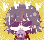 23_(candy_chapus) 2girls :3 bangs black_hair blush bowl chibi emphasis_lines fake_facial_hair fake_mustache hair_intakes holding holding_bowl holding_needle horns in_bowl in_container japanese_clothes kijin_seija kimono minigirl multicolored_hair multiple_girls needle purple_hair red_hair round_eyewear sewing_needle short_hair streaked_hair sukuna_shinmyoumaru sunglasses touhou translation_request v-shaped_eyebrows white_hair yellow_background