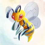 antennae beedrill eric_proctor full_body looking_at_viewer no_humans pokemon pokemon_(creature) red_eyes signature solo wings