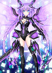 1girl absurdres blue_eyes bodysuit braid breasts choujigen_game_neptune cleavage hair_ornament highres kludea long_hair neptune_(series) purple_hair purple_heart solo sword symbol-shaped_pupils twin_braids weapon