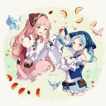2girls apple bandana belt belt_pouch bird blue_eyes blue_gloves blue_hair closed_mouth commentary_request felicia_(fire_emblem_if) fingerless_gloves fire_emblem fire_emblem_heroes fire_emblem_if flora_(fire_emblem_if) food fruit gloves grey_eyes highres holding_hands long_hair long_sleeves multiple_girls open_mouth orange pink_hair ponytail pouch shorts siblings sisters skirt squirrel strawberry twintails twitter_username yuuri_(114916)