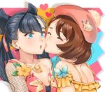 2girls bangs bare_shoulders black_hair blue_eyes breasts brown_hair bug butterfly collarbone commentary dress eyebrows_visible_through_hair flower gen_1_pokemon heart highres insect kiss large_breasts long_hair mary_(pokemon) multiple_girls open_mouth orange_flower pikachu pink_ribbon pokemon pokemon_(game) pokemon_swsh ribbon short_hair tatori yellow_dress yuri yuuri_(pokemon)