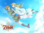 1boy 1girl belt blonde_hair blue_eyes earrings falling hat highres jewelry link long_hair pointy_ears princess_zelda pun skyward_sword tears the_legend_of_zelda wasabi_(legemd)